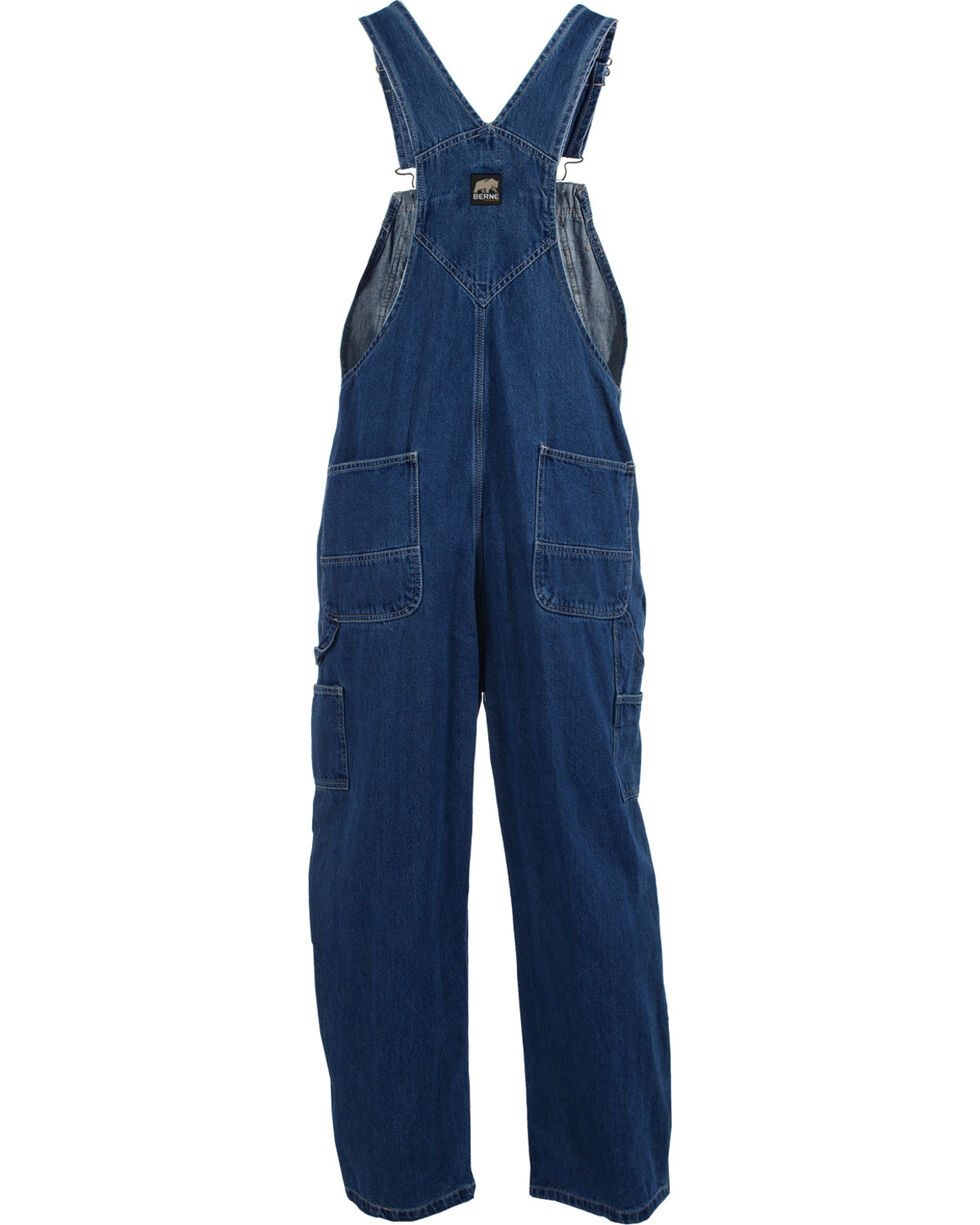 Berne Dark Stonewash Original Unlined Washed Denim Bib Overalls - Short Sizes, Stonewash, hi-res