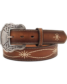Nocona Women's Ivory Starburst Buckle Belt, Tan, hi-res