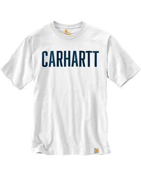 Carhartt Men's Workwear Block Graphic Short Sleeve Tee , White, hi-res