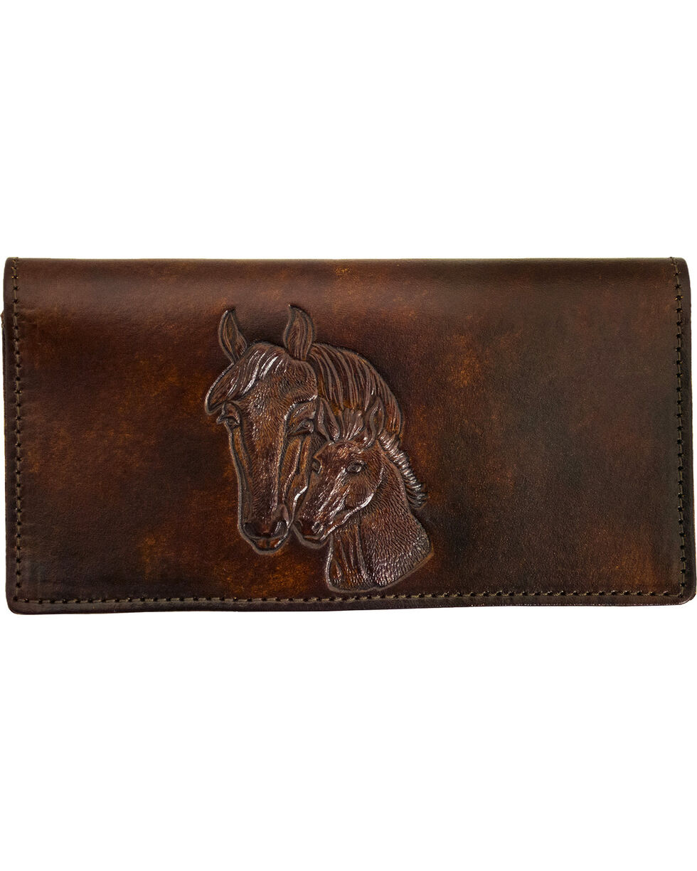 Western Express Women's Brown Leather Horse Checkbook Wallet , Brown, hi-res