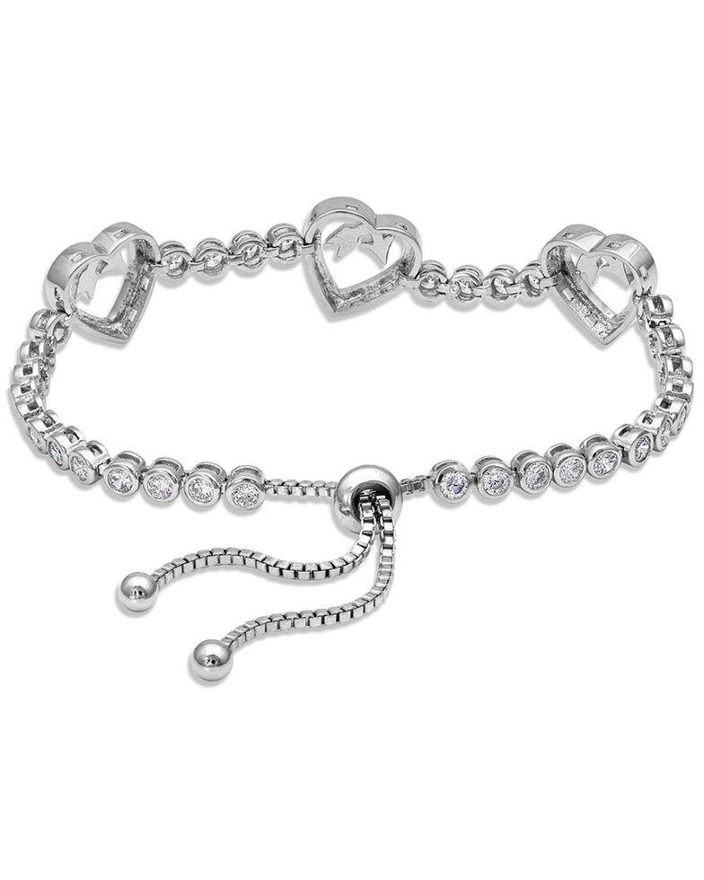 Montana Silversmiths Women's Follow Your Arrow Heart Bolo Bracelet, Silver, hi-res