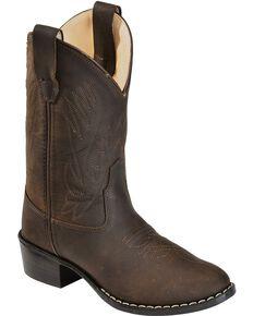 Jama Youth's Corona Western Boots, Brown, hi-res