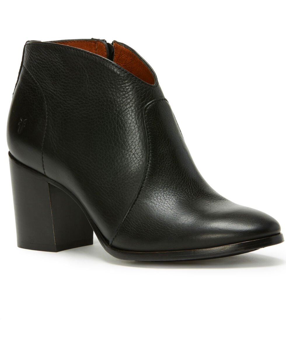 Frye Women's Black Nora Zip Short Booties - Round Toe , Black, hi-res