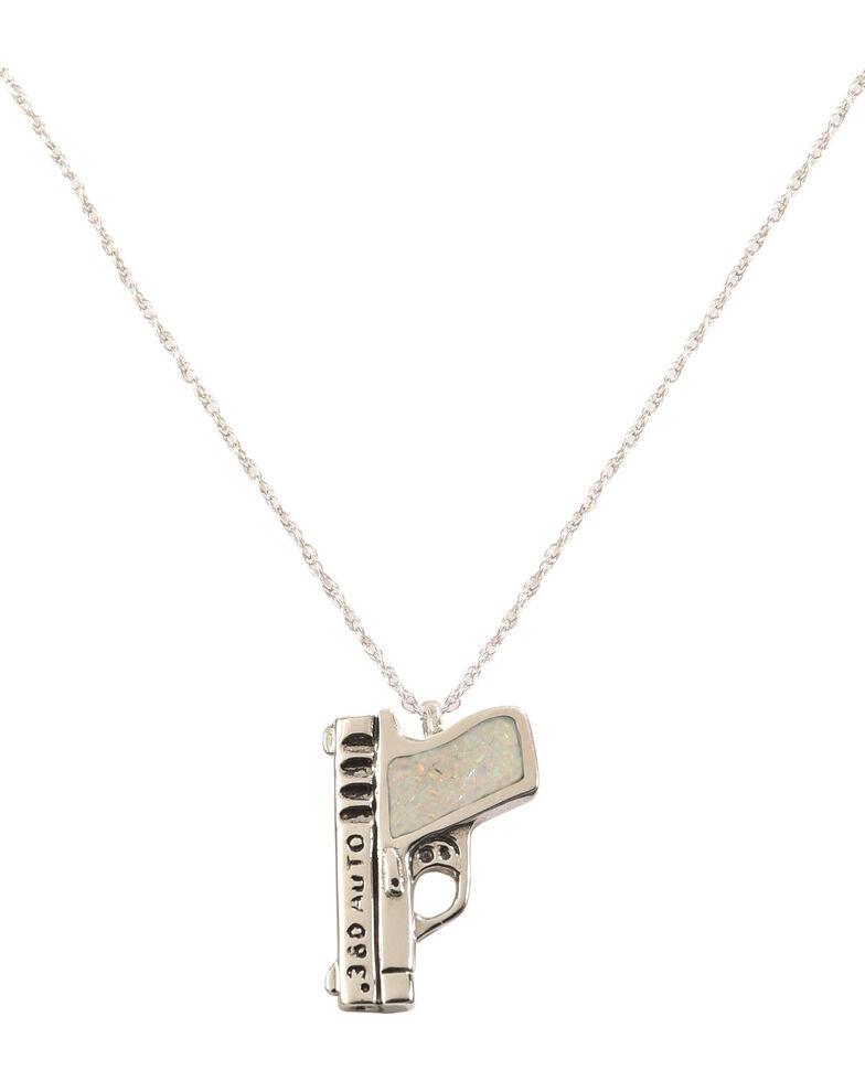 Silver Legends Women's 380 Auto Pistol Necklace , White, hi-res