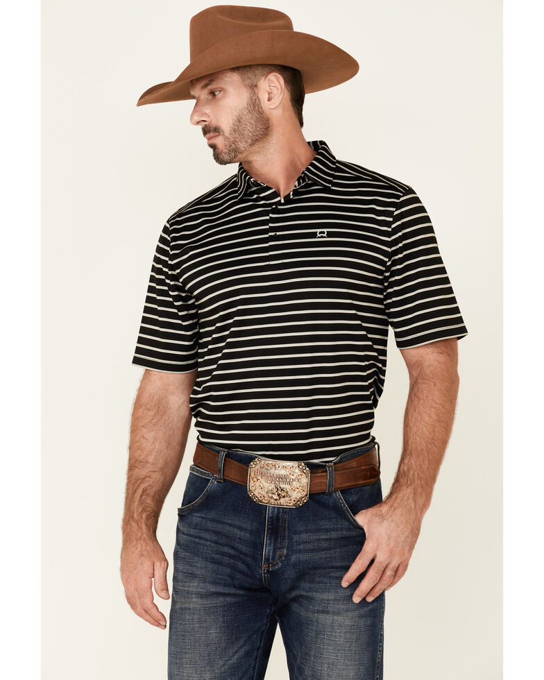 Cinch Men's Arena Flex Black Striped Polo Shirt , Black, hi-res