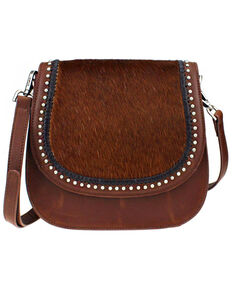 Montana West Delila Saddle Bag 100% Genuine Leather Hair-On Hide Collection , Brown, hi-res