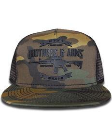 5ccfe7e475f Brothers   Arms Men s Black Rubber Logo Camo Trucker Cap