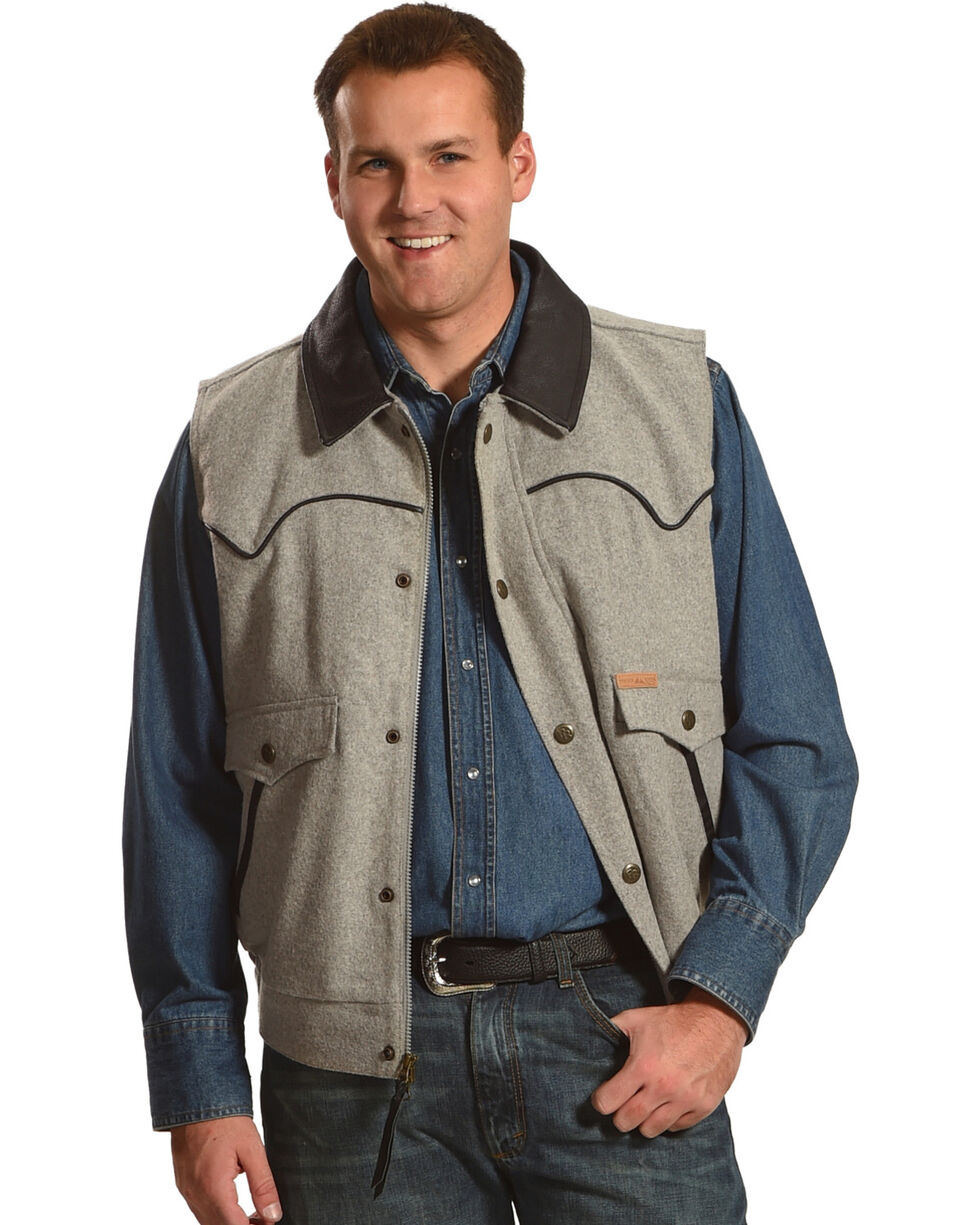Powder River Outfitters Men's Charcoal Solid Wool Vest, Charcoal, hi-res
