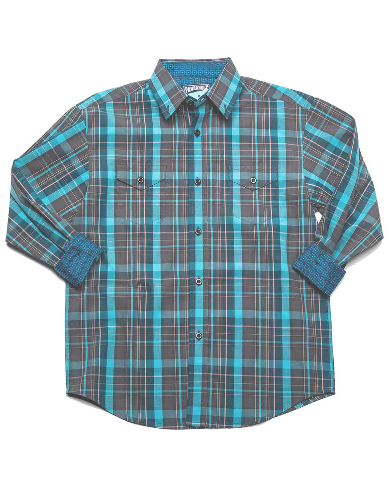 Panhandle Select Boys' Multi Poplin Plaid Long Sleeve Western Shirt , Multi, hi-res