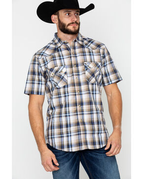 Wrangler Retro Men's Plaid Short Sleeve Western Shirt, Brown/blue, hi-res