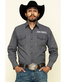 Jack Daniel's Men's Black Geo Print Long Sleeve Western Shirt , Black, hi-res