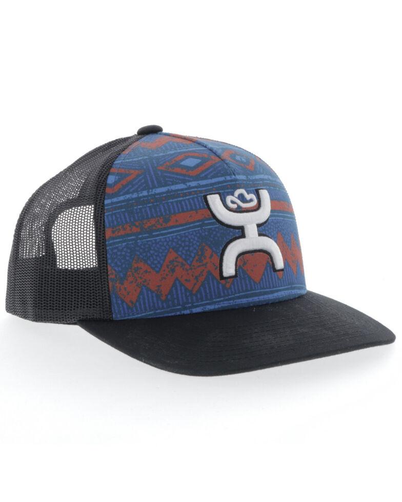 HOOey Boys' Blue Aztec Print Youth Patch Mesh Ball Cap , Blue, hi-res