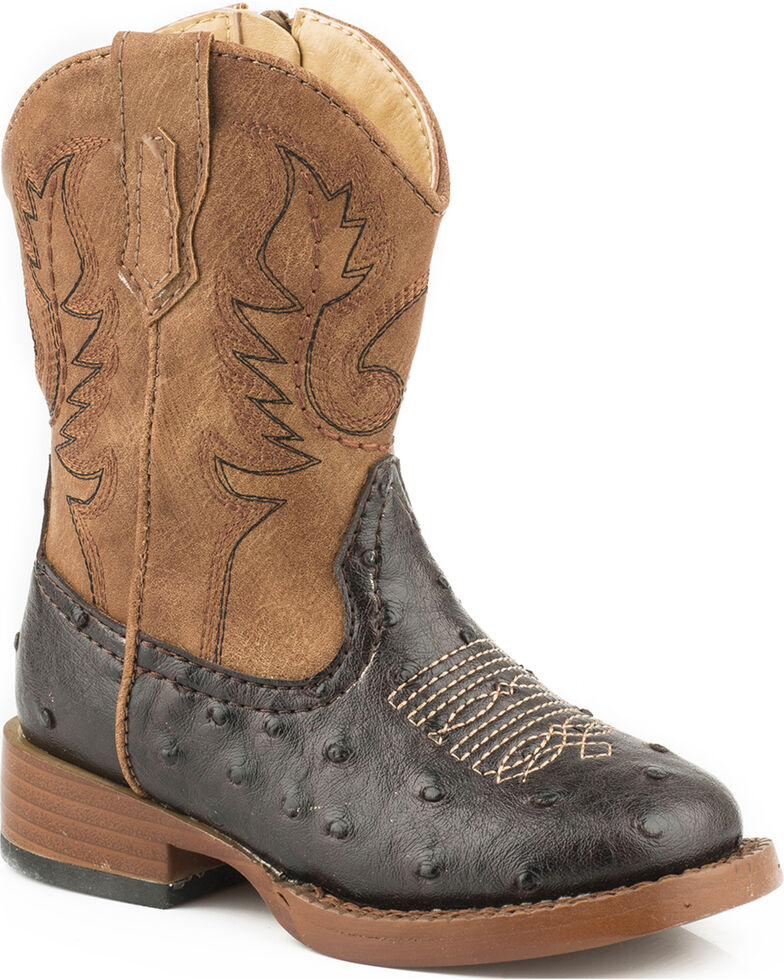 Roper Boys' Ostrich Print Cowboy Boots - Square Toe, Brown, hi-res