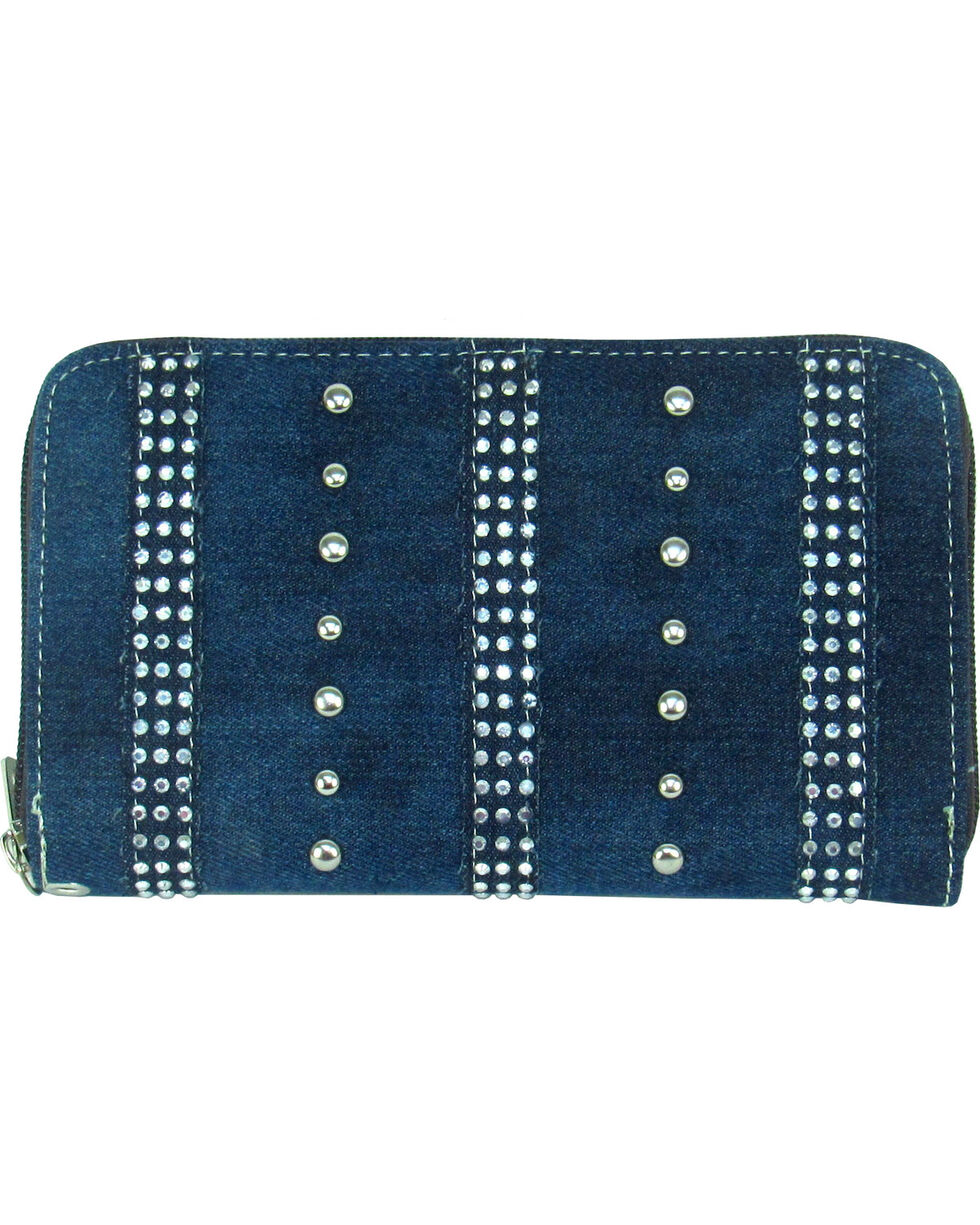 Savana Women's Denim Zip-Around Wallet, Blue, hi-res