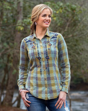 Ryan Michael Women's Embroidered Buffalo Plaid Shirt, Hunter Green, hi-res
