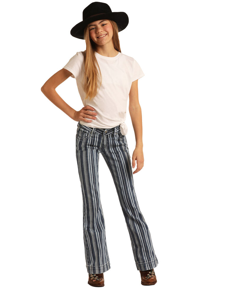 Rock & Roll Denim Girls' Multi Stripe Trousers, Multi, hi-res
