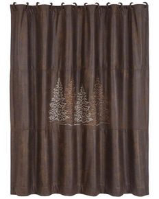 HiEnd Accents Chocolate Embroidered Tree Shower Curtain , Chocolate, hi-res