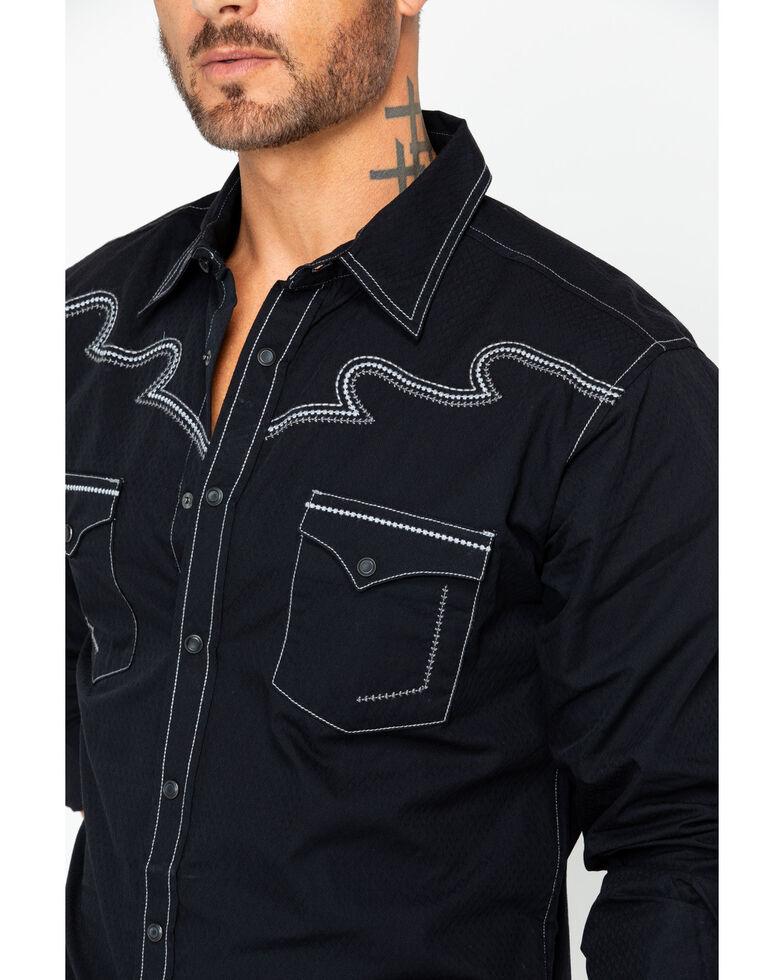Rock 47 by Wrangler Men's Contrast Stitching Western Shirt , Black, hi-res
