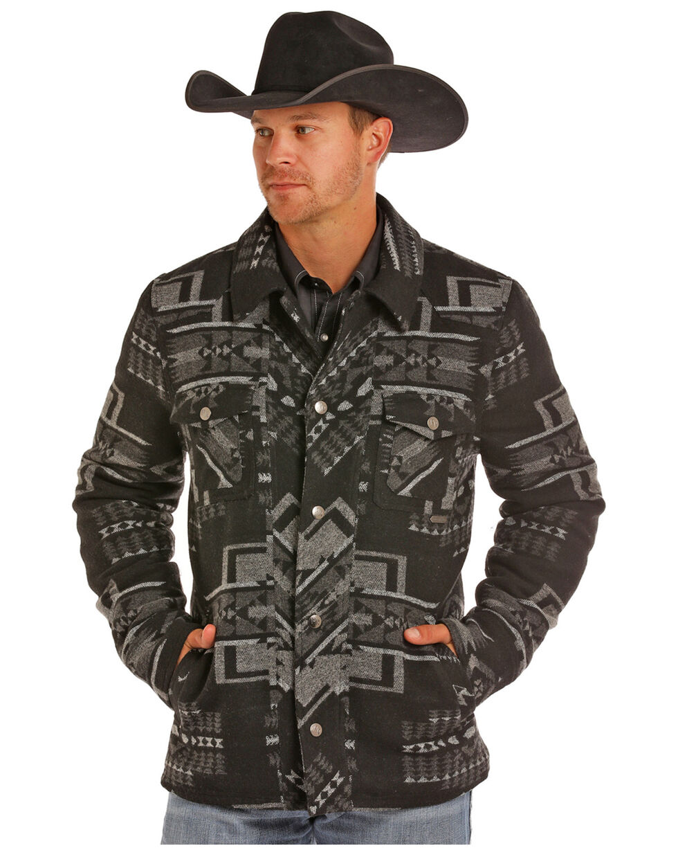 Powder River Outfitters Men's Aztec Wool Jacket, Black, hi-res