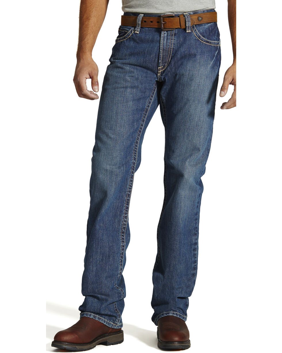 Ariat Men's Fire-Resistant M4 Clay Low-Rise Bootcut Work Jeans, Denim, hi-res