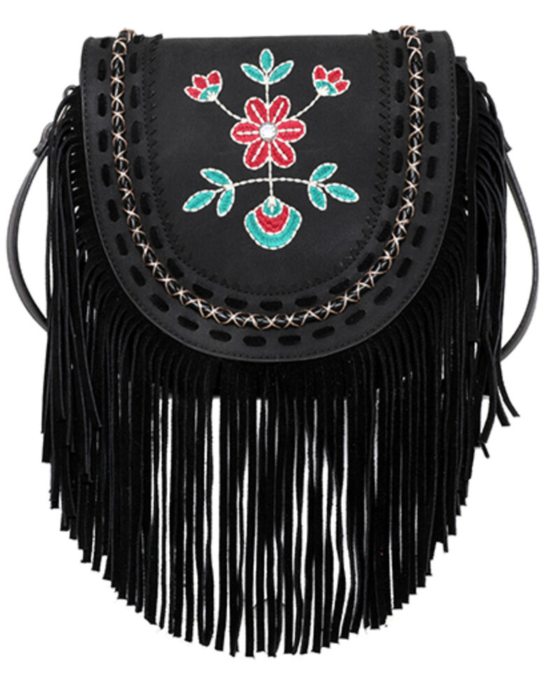 Montana West Women's Wrangler Floral Crossbody Bag, Black, hi-res