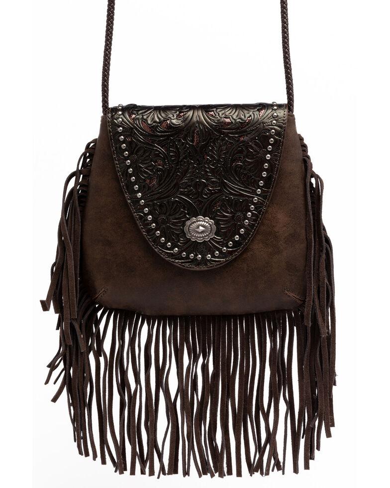 Shyanne Women's Glitter Inlay Fringe Crossbody Bag, Brown, hi-res