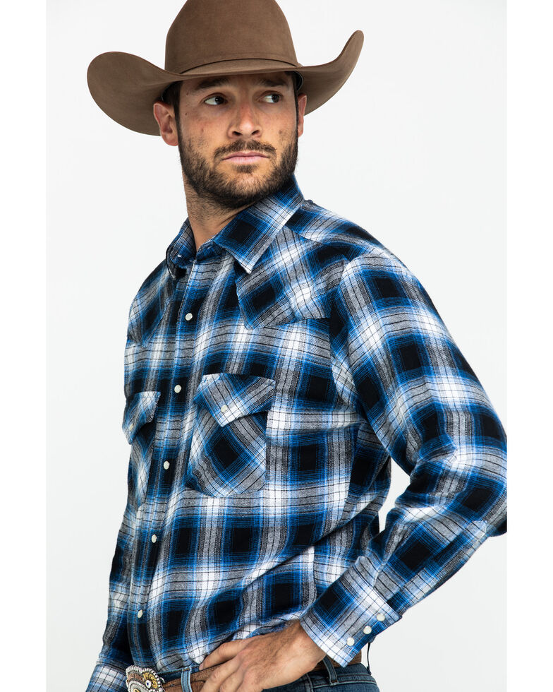 Ely Cattleman Men's Large Plaid Snap Long Sleeve Western Flannel Shirt , Blue, hi-res