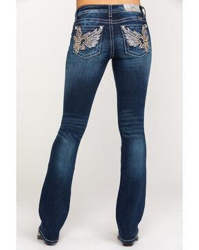 Miss Me Women's Fleur-de-lis Wing Bootcut Jeans, Dark Blue, hi-res