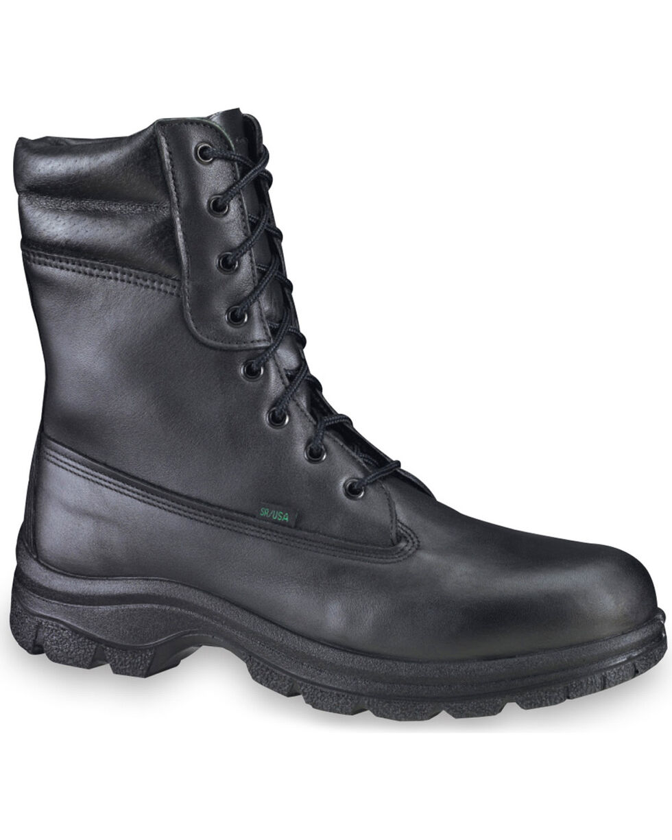 """Thorogood Men's 8"""" Postal Certified Waterproof Insulated Weatherbuster Boots - Soft Toe, Black, hi-res"""