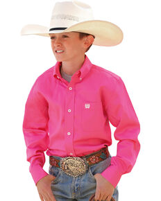 Cinch ® Boys' Hot Pink Long Sleeve Shirt, Pink, hi-res
