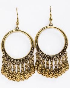 Idyllwind Women's Gypsy Fringe Gold Hoop Earrings, Gold, hi-res