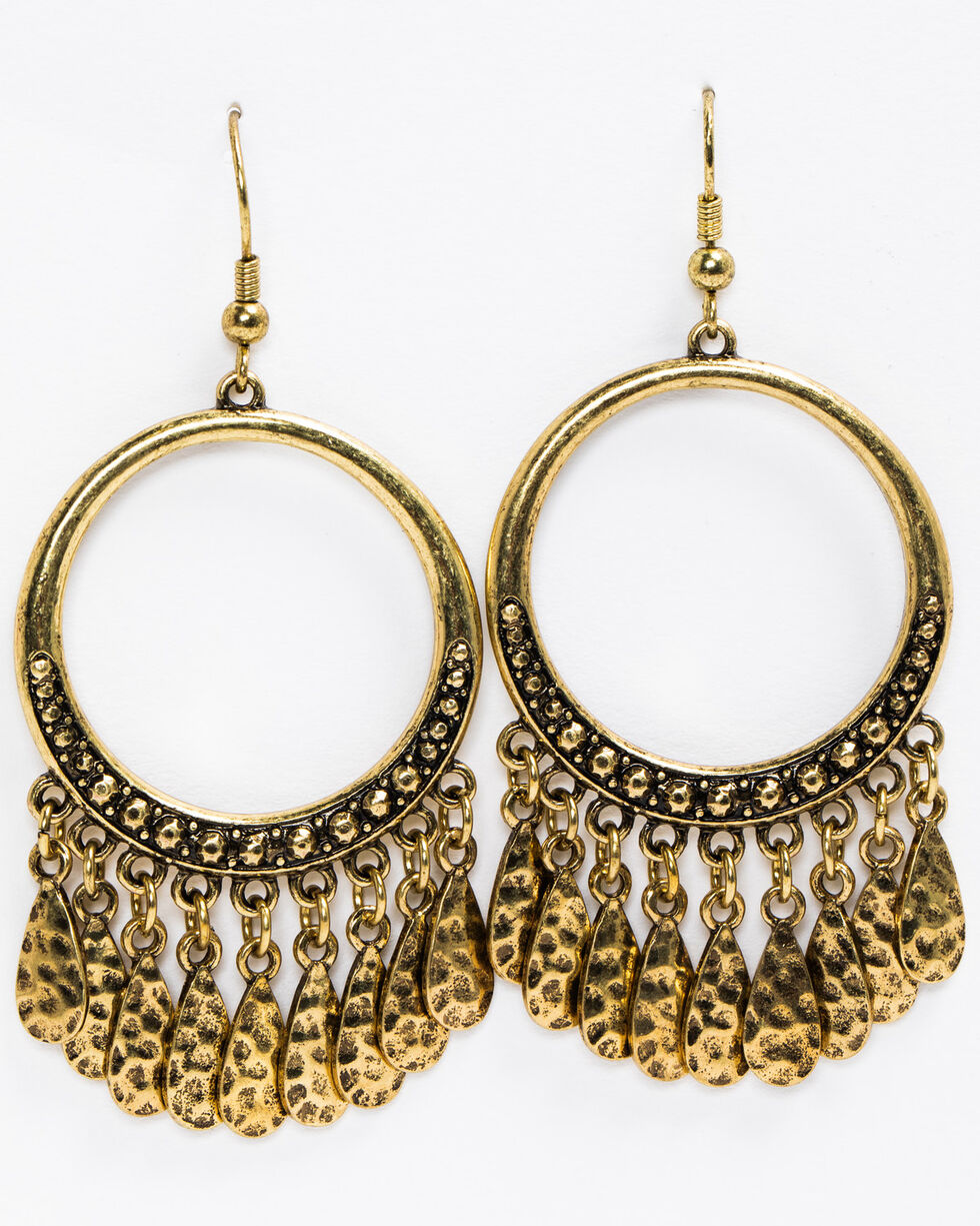 Idyllwind Women's Gypsy Fringe Gold Hoop Earrings, Gold, hi-res
