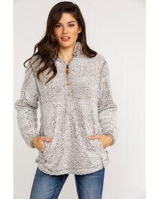Katydid Women's Sherpa Zip Up Pullover , Grey, hi-res