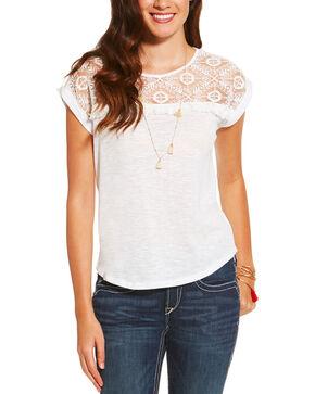 Ariat Women's Rita Short Sleeve Top, White, hi-res