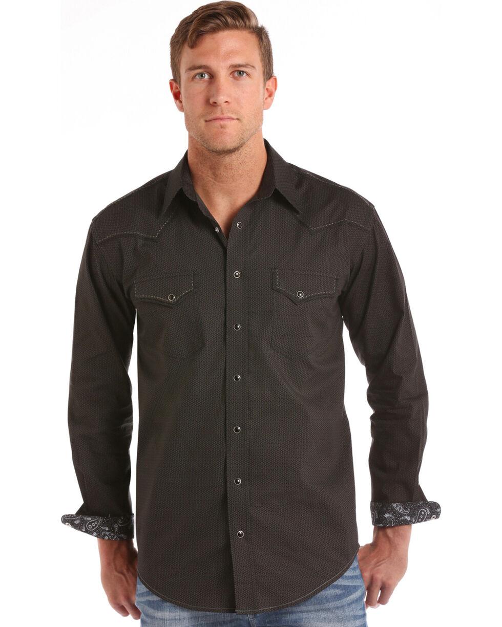 Rough Stock by Panhandle Men's Black Vintage Print Shirt , Black, hi-res