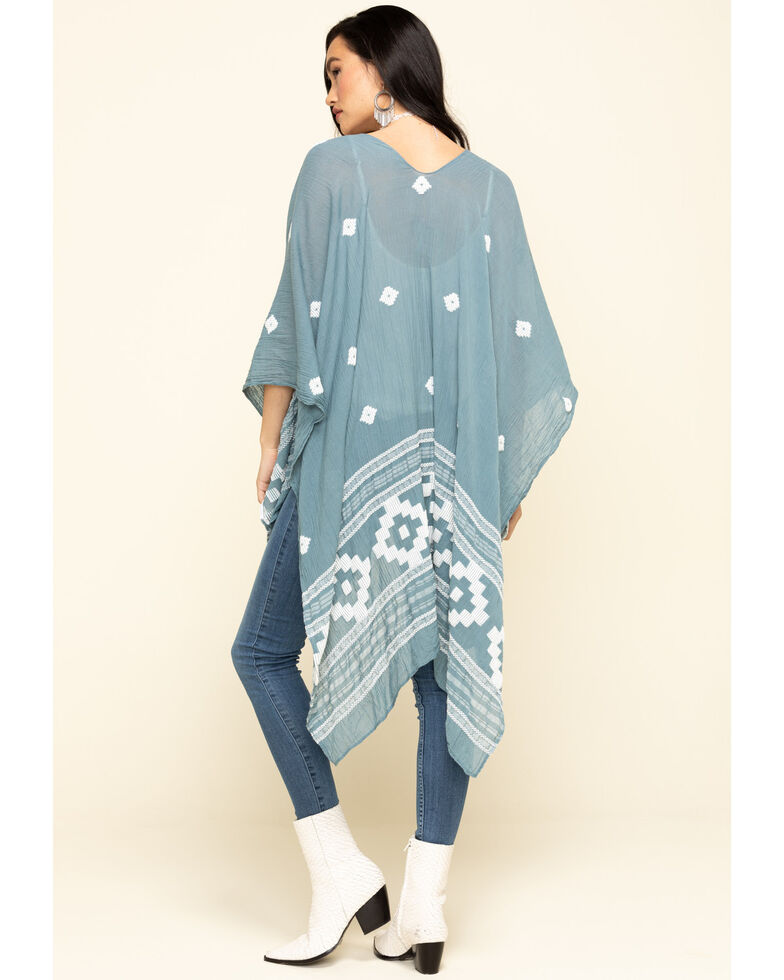 Shyanne Women's Textured Aztec Two-Toned Shawl, Blue, hi-res