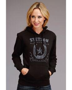 Stetson Women's Black Horseshoe Logo Hoodie, Black, hi-res