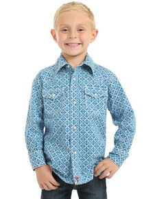 Wrangler 20X Boys' Advanced Comfort Geo Print Long Sleeve Western Shirt , Turquoise, hi-res