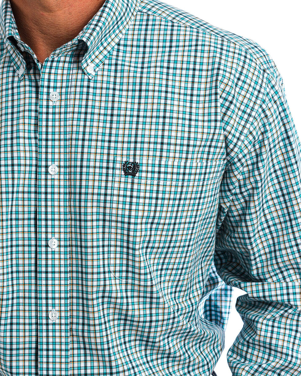 Cinch Men's Green & White Plaid Button Down Shirt , White, hi-res
