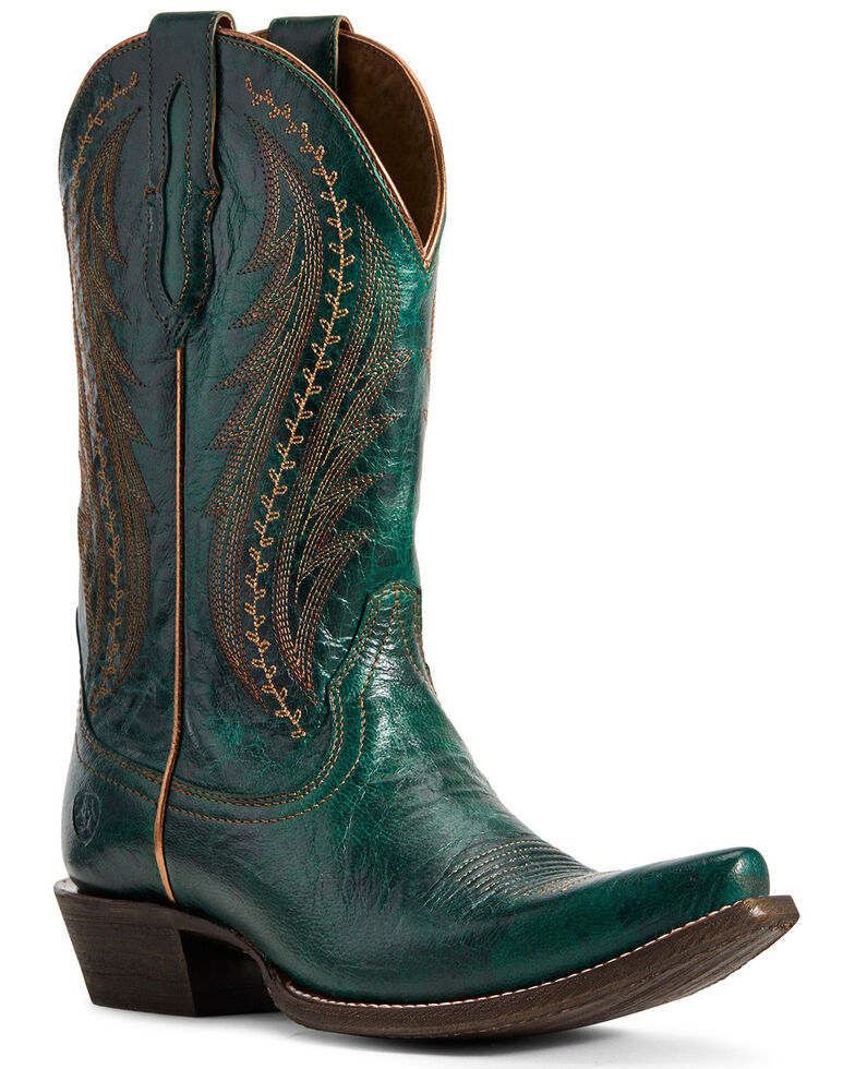 Ariat Women's Leather Tailgate Peacock Blue Western Boots - Snip Toe, , hi-res