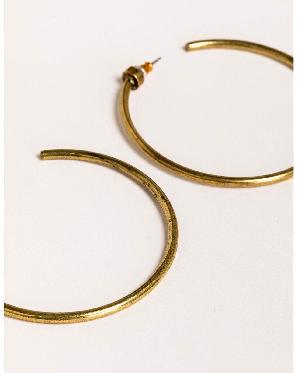 Idyllwind Women's Tex Trustie Brass Hoop Earrings , Gold, hi-res