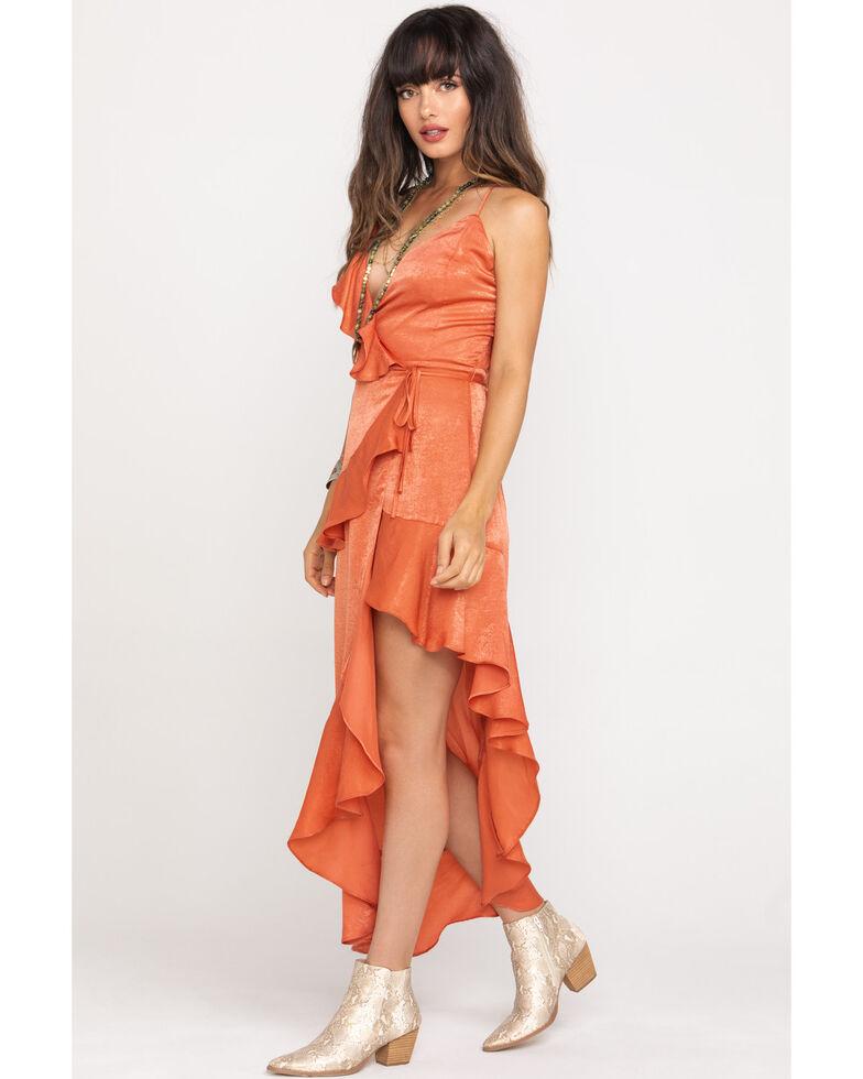 Flying Tomato Women's Salmon Satin Ruffle Wrap Dress, Peach, hi-res