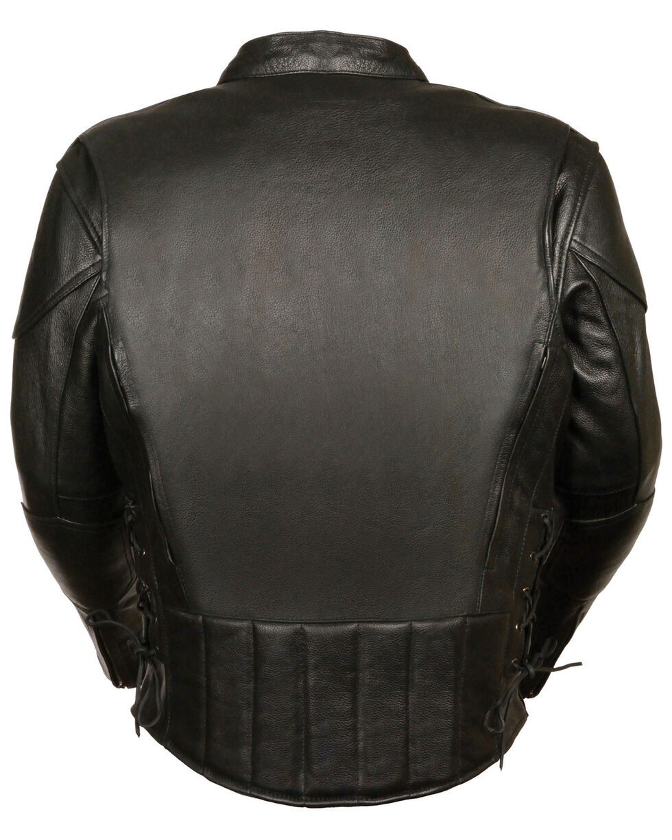 Milwaukee Leather Men's Side Lace Vented Scooter Jacket - 3X Tall, Black, hi-res