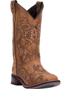 Laredo Women's Janie Western Boots, Tan, hi-res
