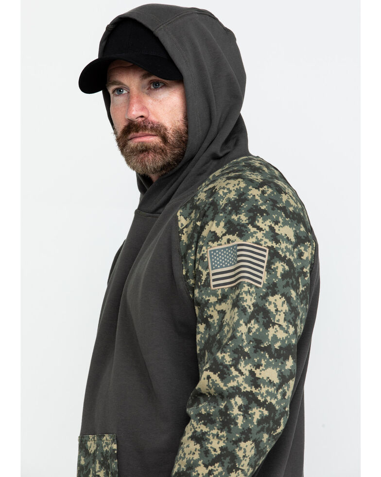 Ariat Men's FR Durastretch Camo Patriot Hooded Work Sweatshirt - Tall , Camouflage, hi-res