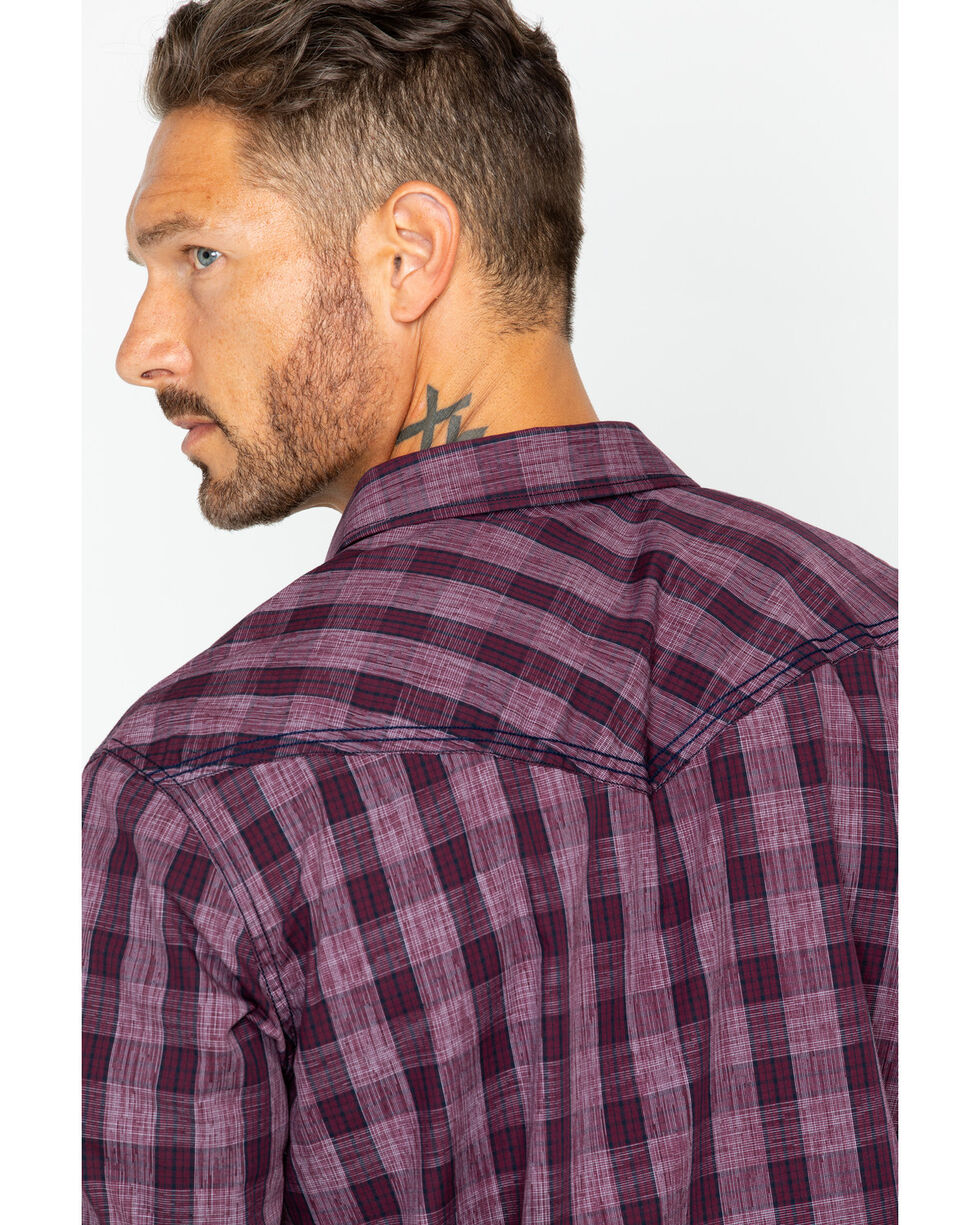 Cody James Men's Chicken Wire Med Plaid Long Sleeve Shirt , Maroon, hi-res
