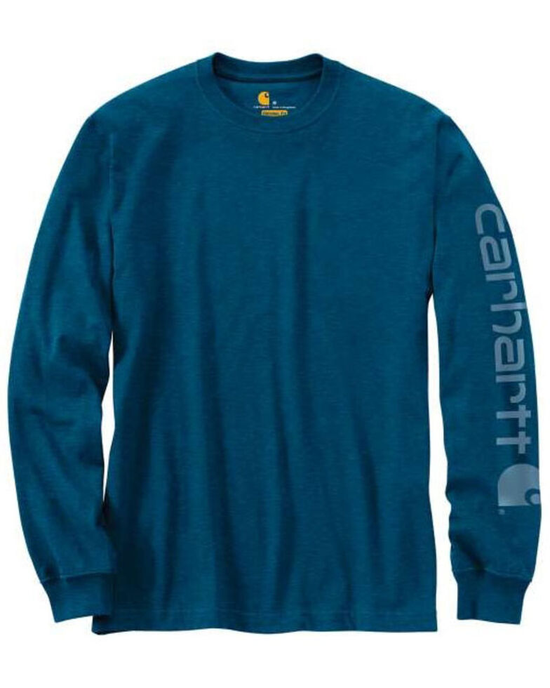 Carhartt Men's Heather Blue Signature Sleeve Logo Graphic Long Sleeve Work T-Shirt , Heather Blue, hi-res