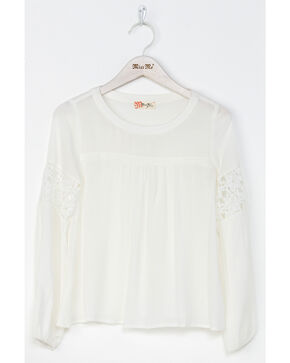 Miss Me Girls' Free Flow Peasant Top , White, hi-res