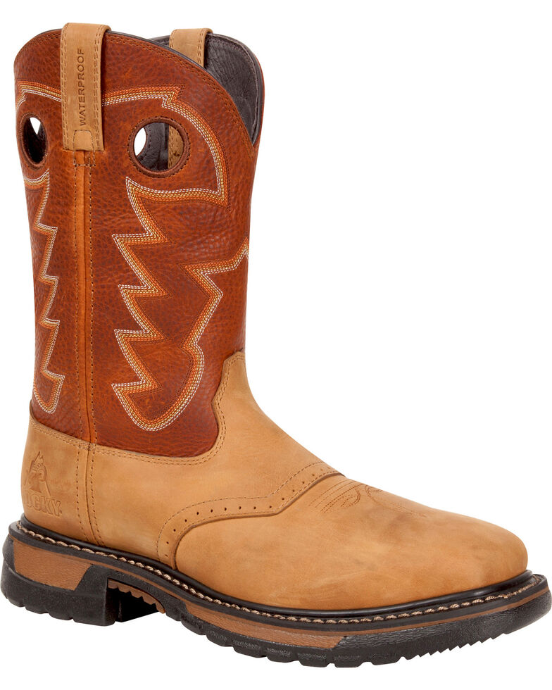 Rocky Men's Original Ride Steel Toe Waterproof Western Boots, Tan, hi-res
