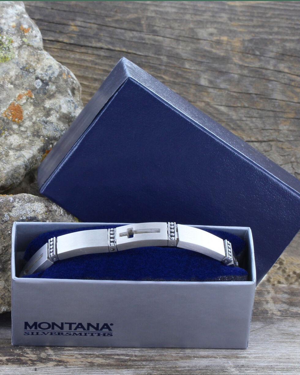 Montana Silversmiths Silver Banded in Faith Cross Link Bracelet , Silver, hi-res